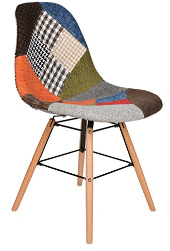 1 x Design Patchwork Sessel Wohnzimmer Büro Stuhl Esszimmer Sitz Holz Stoff bunt