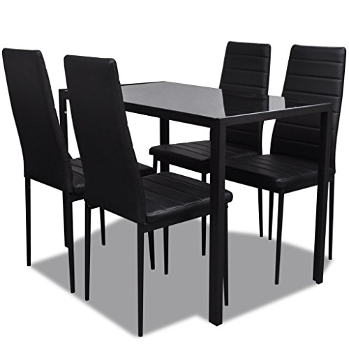 vidaxl 5tlg esstisch sitzgruppe essgruppe esszimmer esstischset st hle schwarz m bel24. Black Bedroom Furniture Sets. Home Design Ideas