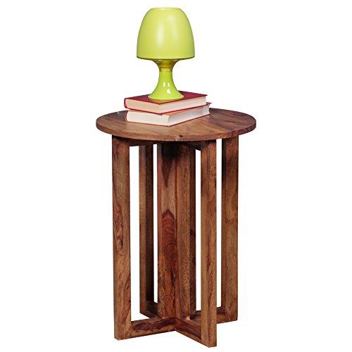 WOHNLING Beistelltisch Massiv-Holz Sheesham Design Wohnzimmer-Tisch 45 x 45cm rund Couchtisch Natur-Holz dunkel-braun Nachttisch Landhaus-Stil Nachtkommode Echtholz Anstelltisch Telefontisch 60cm hoch