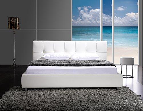 sam polsterbett zarah 160 x 200 cm wei bett mit chrom farbenen f en modernes design. Black Bedroom Furniture Sets. Home Design Ideas