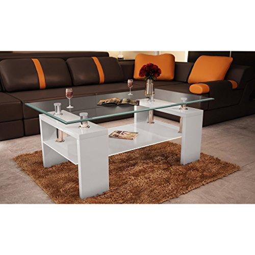 Vidaxl couchtisch glastisch beistelltisch tisch wei for Wohnzimmertisch platte