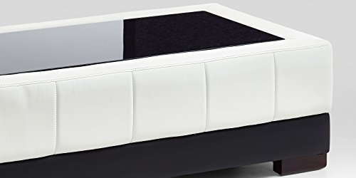 Couchtisch Kunstleder Wohnzimmertisch Schwarz Weiß mit Glasplatte Schwarzglas Beverly Glastisch