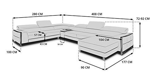 Echt Leder Wohnlandschaft Elsa Sofa in U-Form mit Edelstahlrahmen weiß Teilleder (Standard)