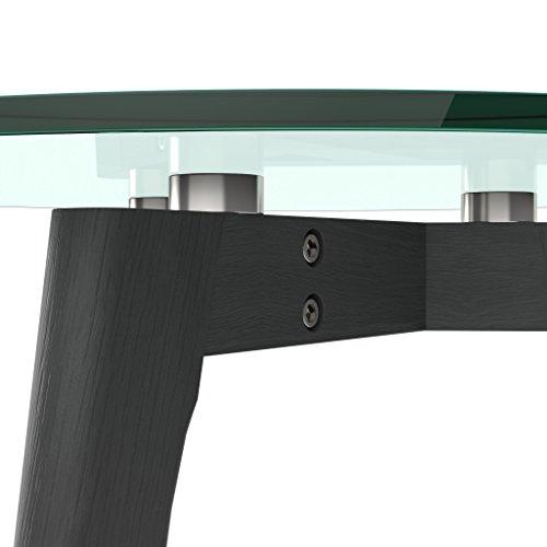 AUSVERKAUF!!! bonVIVO® Design-Couchtisch Filippa, Beistelltisch Im Retro-Look Mit Glasplatte Und Massiv-Holz-Füssen Aus Eiche In Schwarz/ Black, Klein