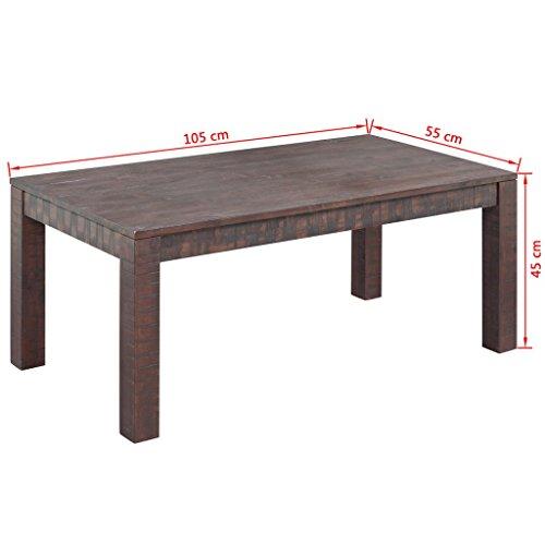 vidaXL Massivholz Couchtisch Beistelltisch Wohnzimmer Akazienholz 105x55x45 cm