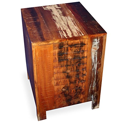 KMH®, Nachttisch im Shabby Chic / Vintage Style (aus recyceltem Sheeshamholz gefertigt!) (#202207)
