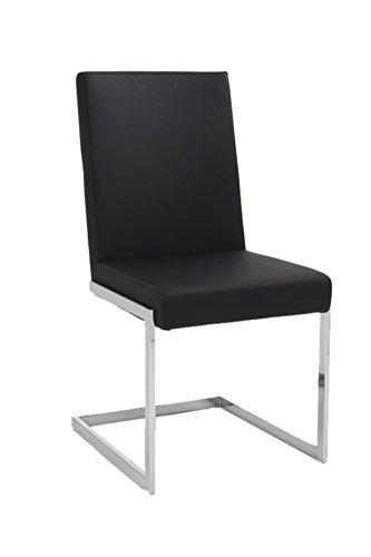 """Cavadore Freischwinger 4-er Set """"Charisse"""" Kunstleder India Schwarz / Schwinger Stuhl gepolstert in Sitz und Rücken / Mit verchromten Stuhlgestell / 49 x 53 x 93 cm (B x T x H)"""
