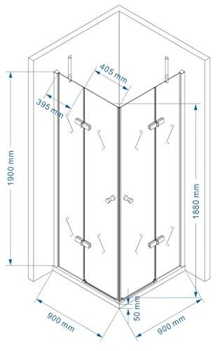 Eckkabine, Eckeinstieg, Duschkabine aus ESG Sicherheitsglas #19 ALLE GROESSEN (90cm x 90cm ohne Duschwanne) auch SPIEGELVERKEHRT MONTIERBAR!