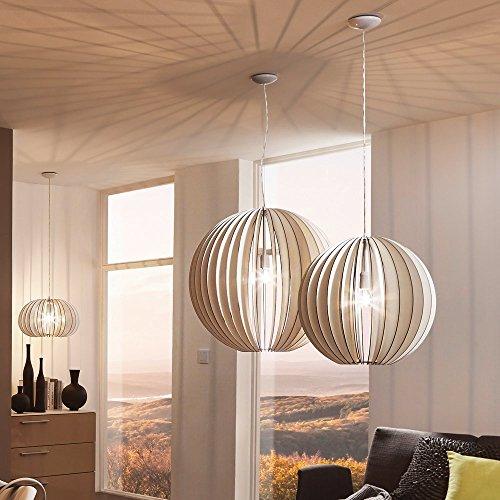 Licht-Trend Rift XXL / Pendelleuchte mit Holzschirm / Ø 70 cm / weiss