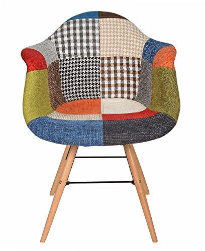 1x Design Patchwork Sessel Wohnzimmer Büro Stuhl Esszimmer Sitz Holz Stoff bunt