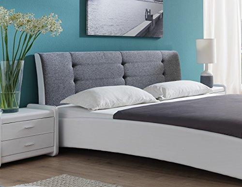 SAM® Polsterbett 90x200 cm Bastia, weiß-grau, Bett mit gepolstertem, hohen Kopfteil, Chrom-Füße, als Wasserbett verwendbar