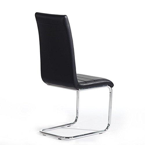 Schwingstuhl LENI Freischwinger Esszimmerstuhl Essgruppe Stuhl, Lederimitat, schwarz