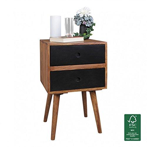 WOHNLING Retro Nachtkonsole REPA / Sheesham-Holz Nachttisch mit 2 Schubladen dunkelbraun / schwarz | Design Nachtkästchen 40 x 35 x 55 cm | Kleines Nachtschränkchen