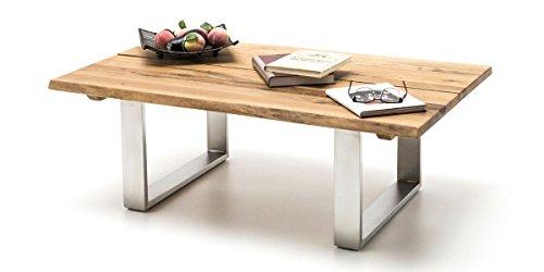 Couchtisch Holz massiv Asteiche Sandro Edelstahl gebürstet 120x75cm