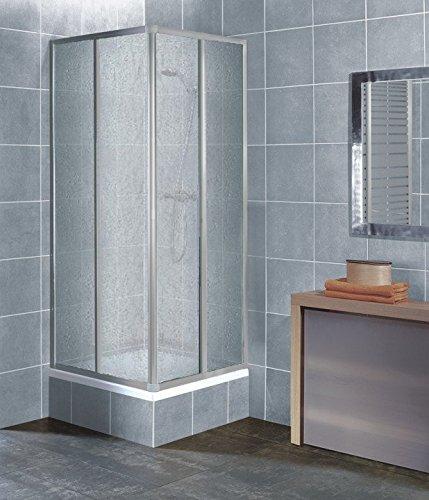Eckeinstieg Duschkabine Kunststoffglas Tropfendekor Silberne Profile 80x80 90x90 80x90 90x80