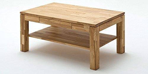 Couchtisch Holz Massiv Eiche mit Schublade Massivholz Wohnzimmer Tisch Asteiche Lukas