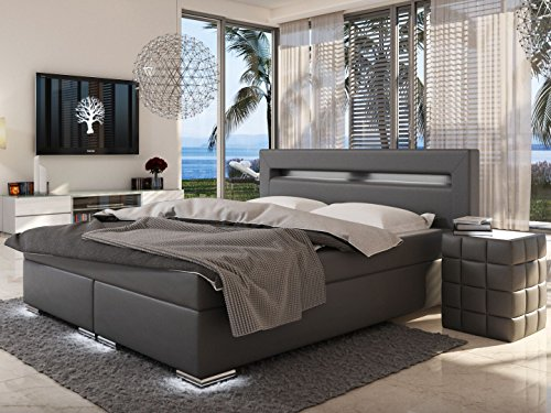 sam led boxspringbett 180x200 cm austin kunstleder grau bonellfederkern matratze h3 topper. Black Bedroom Furniture Sets. Home Design Ideas