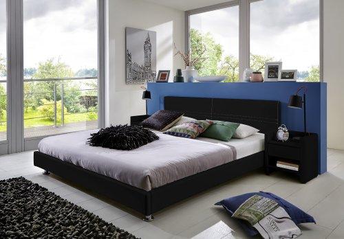 SAM® Polsterbett Michelle schwarz 180 x 200 cm Kopfteil Ziernaht silber lackierte Metallfüße