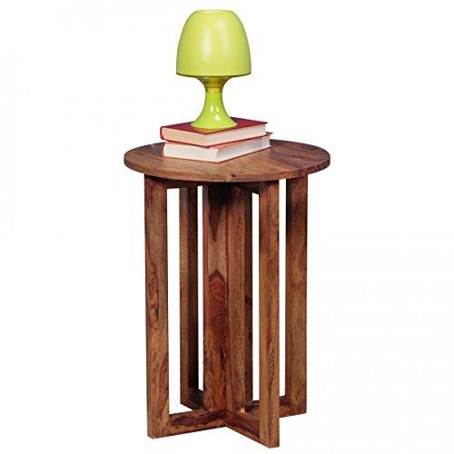 FineBuy Beistelltisch Massiv-Holz Sheesham Wohnzimmer-Tisch 45 x 45cm rund Couchtisch Natur-Holz dunkel-braun Nachttisch Landhaus-Stil Nachtkommode Boxspringbett Echtholz Anstelltisch 60cm hoch