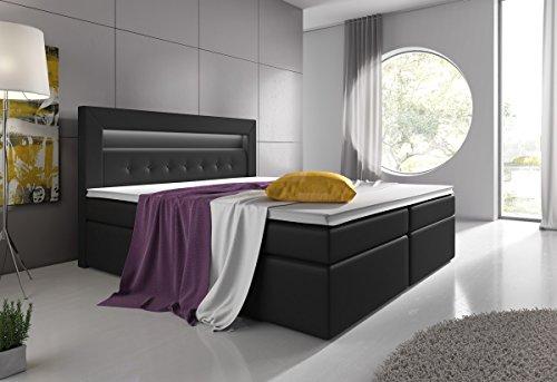 Boxspringbett 180x200 Grau mit Bettkasten LED Kopflicht Hotelbett Venedig Lift