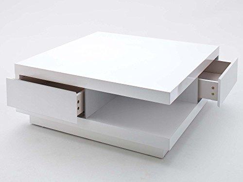 Couchtisch weiß Hochglanz mit Schublade Abby 85x85cm quadratisch