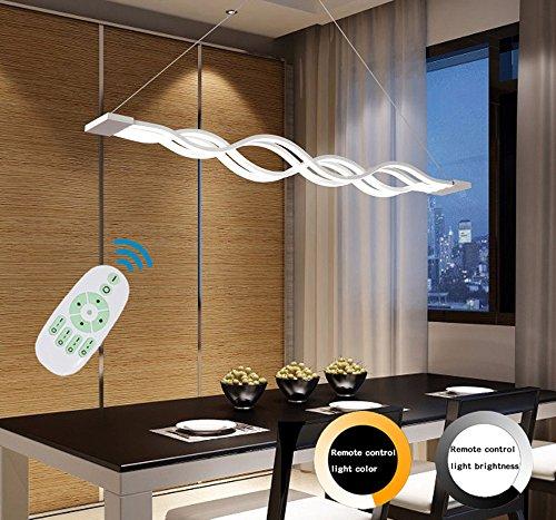 Moderne Welle LED-Pendelleuchte Deckenleuchter Licht-LED hängende Leuchte für moderne Wohnzimmer Schlafzimmer Esszimmer (Dimmbar mit Fernbedienung 72W)100*8 CM [Energieklasse A+]