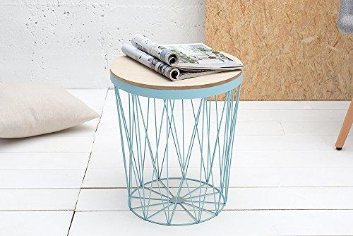 Moderner Couchtisch Beistelltisch STORAGE II blau mit Holzdeckel Korb Aufbewahrung Tisch mit Eiche Ablage Aufbewahrungskorb