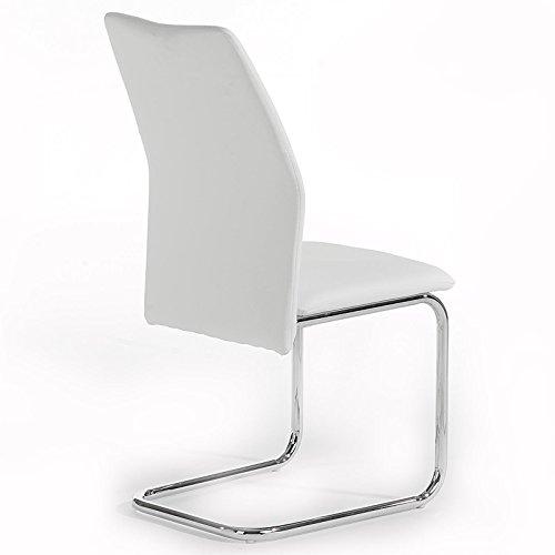4er Set Schwingstuhl Esszimmerstuhl Freischwinger LEONA, Lederimitat in weiß, Metall verchromt