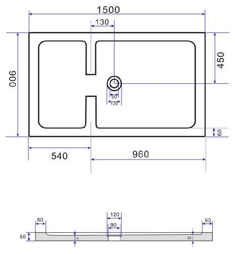 50 mm Duschtasse für GRANEL 150 x 90 cm (schwarz)