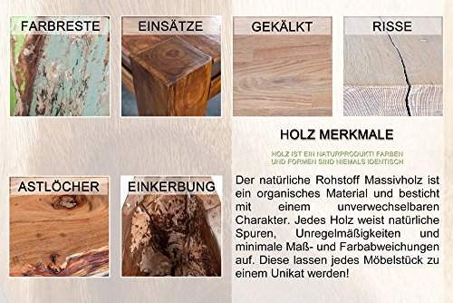 Invicta Interior Pyramid Design Beistelltisch massiver Holz Sheesham Stone Finish 45 cm