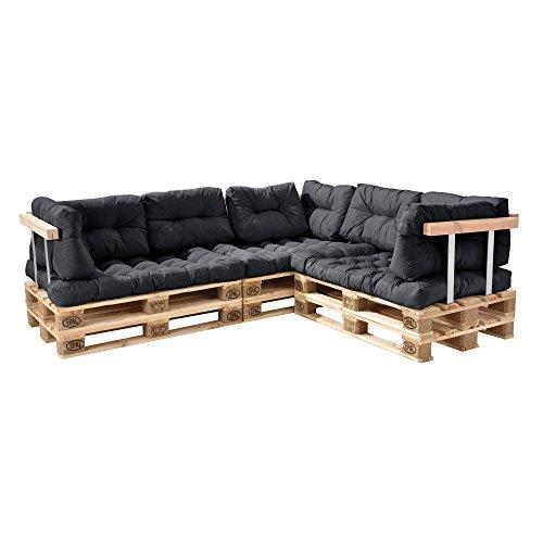 [en.casa] Palettenkissen - 11-teilig - Sitzpolster + Rückenkissen [dunkelgrau] Paletten-Sofa In/Outdoor