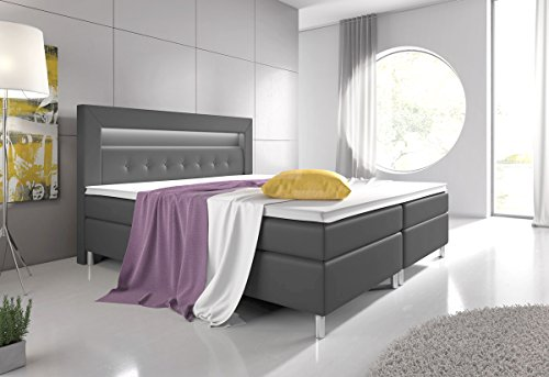 boxspringbett 160 200 wei mit topper led beleuchtung hotelbett topper polsterbett venedig m bel24. Black Bedroom Furniture Sets. Home Design Ideas