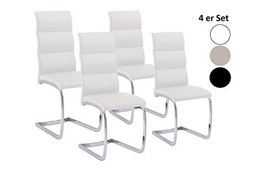 Cavadore Schwingstuhl4er Set Bow / 4 Freischwinger ohne Armlehne in elegantem Design / Lederimitat / Stühle Weiß/ 44 x 101 x 58 cm (B x H x T)
