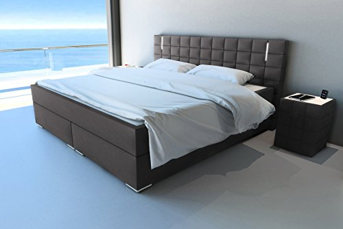 sam led boxspringbett 200x200 cm berlin stoff anthrazit. Black Bedroom Furniture Sets. Home Design Ideas