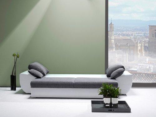 Big Sofa mit Schlaffunktion und Bettkasten, weiße Sitzfläche, Kunstleder (anthrazit, Rücken echt) | XXL Couch | Schlafsofa | Großes Relexsofa