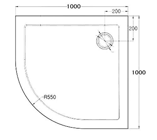 100x100x6 cm Design Duschtasse Faro3BAR in schwarz, mit Anti-Rutsch-Profil, Duschwanne, Acrylwanne