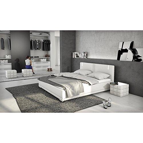 innocent polsterbett aus kunstleder wei 180x200cm mit led und lautsprecher caspani mit. Black Bedroom Furniture Sets. Home Design Ideas