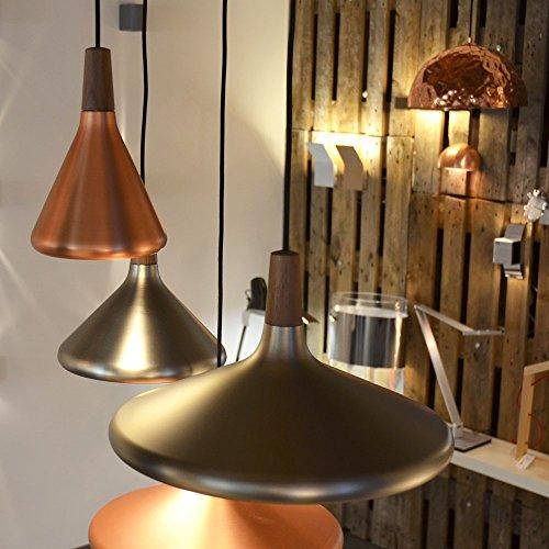LICHT-TREND Pinzantero 1 / Kupfer-Pendelleuchte / Ø 18 cm / Walnuss-Holz