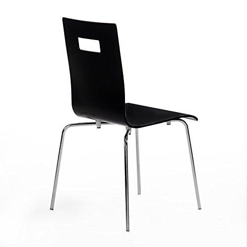 4-er Pack Stuhl Esszimmerstuhl Stapelstuhl IVANCA, schwarz lackiert