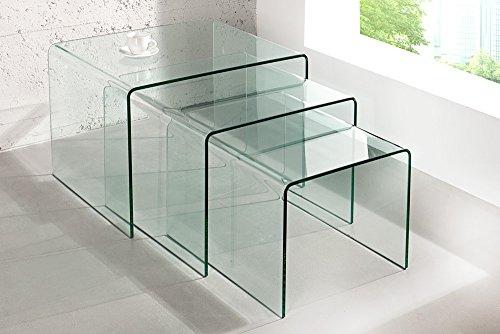 3er Set Glas Couchtisch GHOST 60cm Beistelltische transparent Glastisch Tische