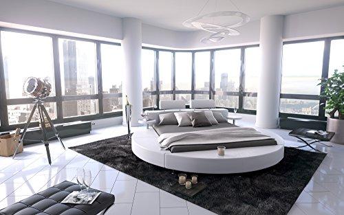 SAM® Polsterbett in weiß, Rundbett mit gepolstertem Kopfteil, Beleuchtung und zwei Nachttischablagen, Bettgestell auch als Wasserbett verwendbar, 200 x 200 cm [521478]