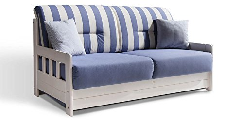 Schlafsofa CAMPUS Blau Weiss Stoff Sofa Couch Massiv Holz Schlafcouch Bettfunktion