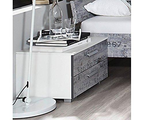 A0336.64C4 Sumatra weiß/Vintage grau Nachtkommode Beistelltisch mit 2 Schubladen