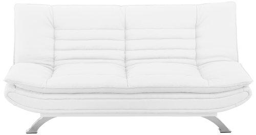 AC Design Furniture 47396 Schlafsofa Jasper, Kunstleder weiß, Füße Metall verchromt, Liegefläche: ca. 196 x 123 cm