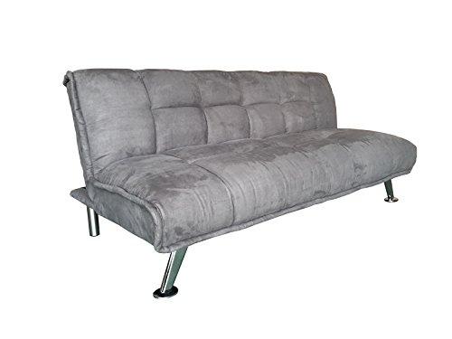 AVANTI TRENDSTORE - Ciprios - Sofa mit Schlaffunktion aus Mikrofaser, grau, ca. 183x83x88 cm