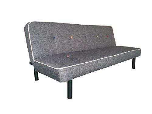 AVANTI TRENDSTORE - Cirios - Sofa mit Schlaffunktion aus Polyester, anthrazit, ca. 179x75x79 cm
