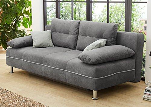 AVANTI TRENDSTORE - Jodie - Sofa mit Schlaffunktion und integriertem Bettkasten aus Mikrofaser, Nubukoptik, ca. 200x74/86x101 cm
