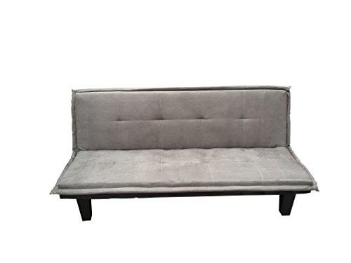 AVANTI TRENDSTORE - Melitta - Sofa mit Schlaffunktion in Mikrofaser grau, ca. 173x76x86 cm