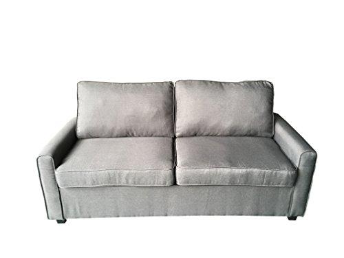 AVANTI TRENDSTORE - Millenium - Sofa in Mikrofaser mit Schlaffunktion in anthrazit, Matratze inklusive, ca. 178x92x75 cm