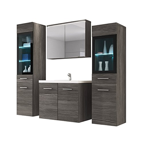 Badmöbel Set Udine II mit Waschbecken und Siphon, Modernes Badezimmer, Komplett, Spiegelschrank, Waschtisch, Hochschrank, Möbel